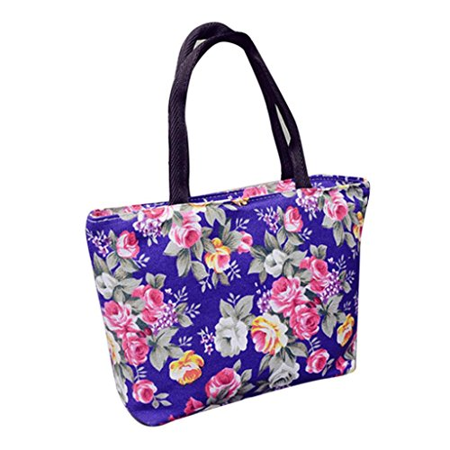 Damenhandtaschen Ronamick Mode Frauen Mädchen Drucken Canvas Shopping Handtasche Schulter Tote Shopper Tasche (Lila) -
