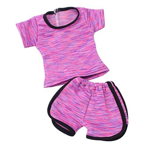 Fenteer 2pcs Puppen Kleidung Bekleidung Outfit Für 18 Zoll Mädchen Puppe Dress up - B