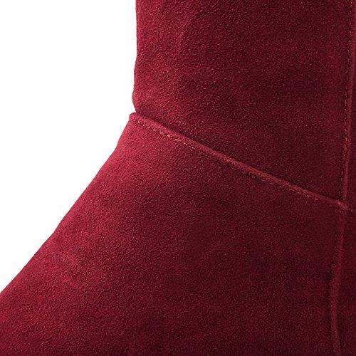 AgooLar Femme Mosaïque à Talon Correct Tire Rond Bottes avec Métal Rouge