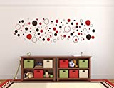 Wandtattoo 100 Stück bunte Kreise - zweifarbig, dunkelbraun rot selbstklebend in Wunschfarben - Punkte, Dots, Wandaufkleber Wandtatoos Sticker Aufkleber für die Wand