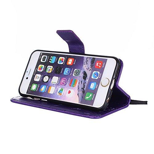 Custodia iPhone 6S, iPhone 6 Cover, ikasus® iPhone 6/iPhone 6S Custodia Cover [PU Leather] [Shock-Absorption] Goffratura Fiore Farfalla e Datazione Ant Protettiva Portafoglio Cover Custodia colore pur Viola