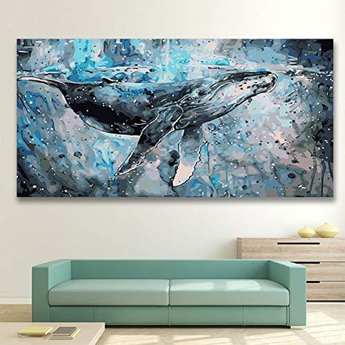 ANTLSZH DIY Digitale Malerei DIY Färbungen Bilder Nach Zahlen Mit Farben Katze Blau Whale Eindruck Bild Zeichnung Malen Nach Zahlen Gerahmt Home Frameless 40X50Cm - Eindruck Gerahmt
