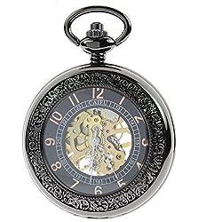 itemstoday Antik Retro arabischen Zahlen aufziehbar Skelett Mechanische Herren Taschenuhr