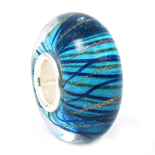 Queenberry - Charm Bead vetro blu effetto onde, argento sterling, ideale per Pandora e Trollbeads