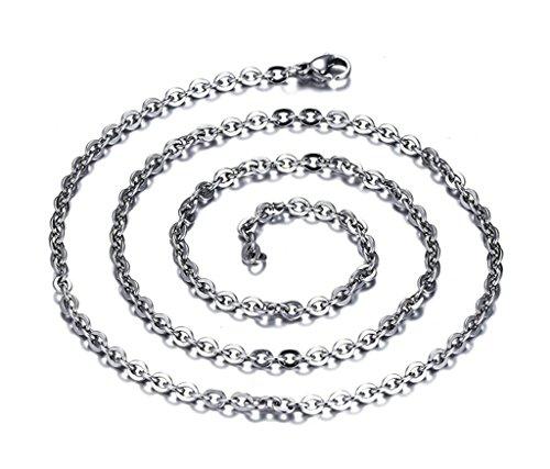Aooaz Edelstahl Anhänger Halskette Unisex Kette Rollenkette Halskette Anhänger Einfach Design Silber 3.2MM Retro Gothic