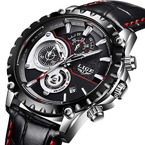 Uhren für Herren,LIGE Herren Fashion Lederband wasserdicht Sport Military Watch Chronograph Datum Kalender Top-Marke Luxus Analog Quarz-Armbanduhr schwarz - Valentinstag-formale Kleid