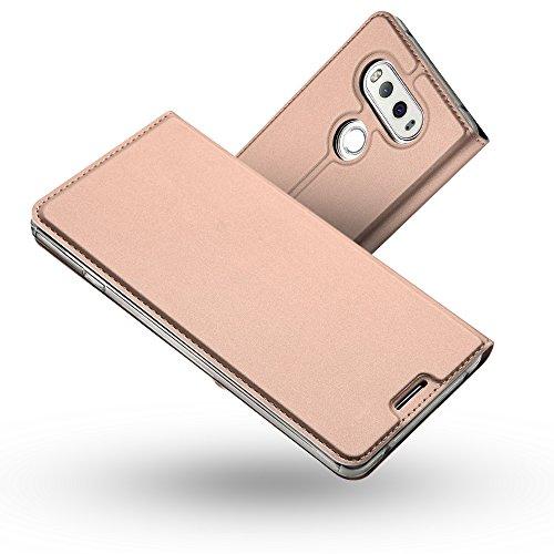 Radoo LG V20 Hülle,LG V20 Lederhülle, Premium PU Leder Handyhülle Brieftasche-Stil Magnetisch Klapphülle Etui Brieftasche Hülle Schutzhülle Tasche für LG V20 (Rose Gold)
