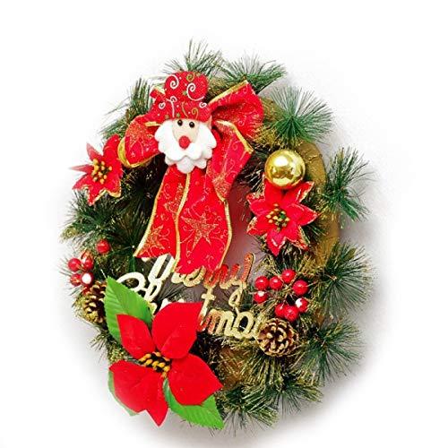 GanSouy Guirlande De Noël avec des Fleurs Artificielles Père Noël en Rotin Anneau Pendentif Décoratif Guirlande De Noël Décoré pour Hôtel Centre Commercial,Red-30cm