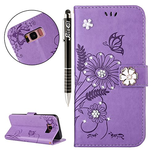 Custodia iPhone 5, iPhone 5S Flip Case Leather, SainCat Custodia in Pelle Flip Cover per iPhone 5/5S/SE, Custodia Bling Glitter Diamante Ultra Sottile Anti-Scratch Book Style Custodia Morbida Cover Pr Viola Chiaro