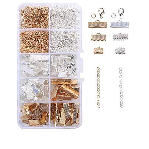 HO2NLE Schmuckherstellung Set Schmuck Basteln Zubehör 370 Stück Armband Kit mit Klemmbleche Hummerverschlüsse Sprung Ringe Kettenverlängerungen für Schmuck Ohrringe Armband Halskette DIY Anfänger