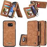 Rundumschutz Multifunktions-Echtleder [Große Kapazität] [2IN1 Abnehmbare Magnetadsorption] [Kartensteckplätze] [Reißverschluss Brieftasche] Fall Abdeckung für Samsung (Galaxy S7 Edge, Braun)