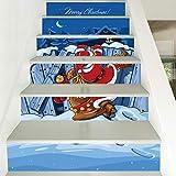 Treppenaufkleber Weihnachten Verkleiden Sich Persönlichkeit Treppen Aufkleber Santa Pvc Wandaufkleber 18CM*100CM*6 Stück