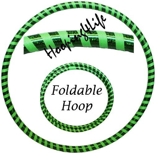 Hooping4Life Faltbarer Hula Hoop Reifen für Training u. Tanz; Größe ca. 101 cm, Gewicht ca. 625 g; Farbe - holografisch Grün / fluoreszierend Grün