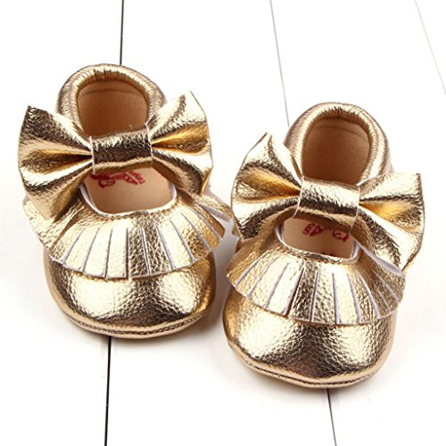 Mädchen Leder Schuh Kleinkind Baby Gold Bowknotschuhe Krippe Pu Longra Beiläufige OPW84H5P7