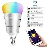 Lampadina WiFi LOFTer E14 Domotica Lampadina Google Home e Echo Alexa Smart Bulb RGB 7W Lampada Smart e Intelligente, Compatibile per Dispositivo iOS e Android