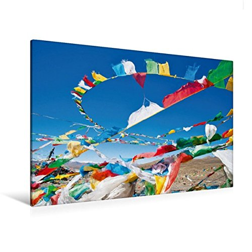 Calvendo Premium Textil-Leinwand 120 cm x 80 cm Quer, Bunte Gebetsfahnen flattern im Wind unter Strahlend Blauem Himmel | Wandbild, Bild auf Keilrahmen. Himalaya, Tibet, China Orte Orte