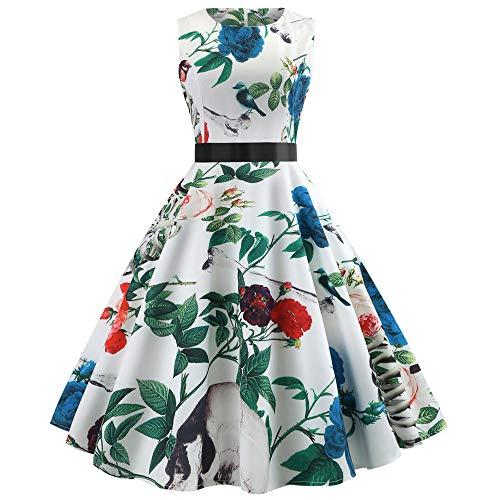 � Yesmile 1950er Jahre Kleider Damen Schwarz Kappen Hülse Retro Vintage Sommerkleid Sexy Party Elegante Kleider KleidRundhals Abendkleid Prom Swing Kleid (XL, Weiß) ()