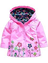 FEOYA Niñas Chubasquero bebés Chaqueta Impermeable con Capucha de Mangas Largas - Rosa - talla 1 2 3 4 5 años 12 meses