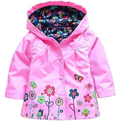 FEOYA Niñas Chubasquero bebés Chaqueta Impermeable con Capucha de Mangas Largas - Rosa - talla 1 2 3 4 5 años 12