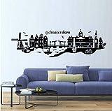 Ymran Amsterdam Skyline Tatuajes de Pared DIY Wall Art Papel Pintado Auto-Adhesivo para la Sala de Estar decoración del hogar 99 * 29 cm