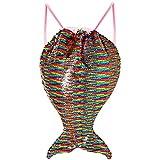 VAMEI Meerjungfrau Pailletten Tasche Kordelzug Pailletten Rucksack Flip Pailletten Strand Wandern Tasche für Kinder