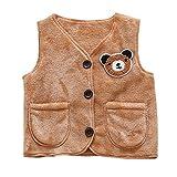 Chaquetas bebé zycShang Animal Coral terciopelo niño chaleco abrigo de ropa caliente (90, Marrón)