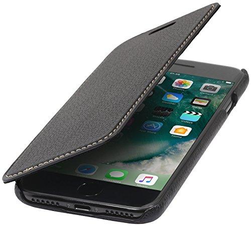 StilGut Leder-Hülle kompatibel mit iPhone 8 Plus Book Type, Schwarz