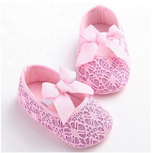 ACMEDE Baby Mädchen Taufschuhe Anti-Slip Kleinkind Schuhe Babyschuhe Rosa 12cm Rosa