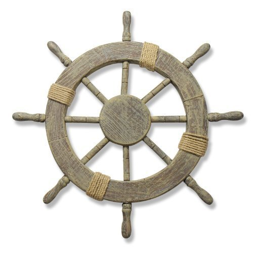 Adeco Ornamental Home Decor Nautical Ship Steering Wheel Wall Decoration Wood and Rope 24 by Adeco