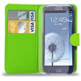 Samsung Galaxy S3 i9300 - Leather Wallet Case Cover Pouch + Screen Protector & Polishing Cloth ( Wallet Green )
