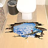 Indexp 3D Removable Bridge Sky Moon Beach Floor/Wall Sticker Vinyl Art Living Room Decors Decals (Style A)
