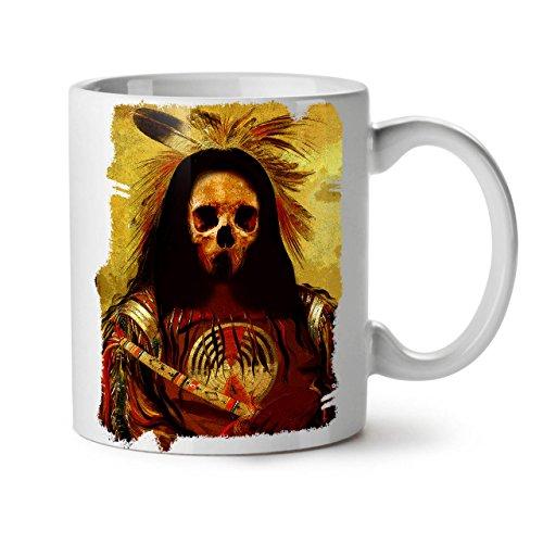 Wellcoda indisch Skelett Alt Schädel Keramiktasse, Kostüm - 11 oz Tasse - Großer, Easy-Grip-Griff, Zwei-seitiger Druck, Ideal für Kaffee- und - Kostüm Von Indischen Staaten