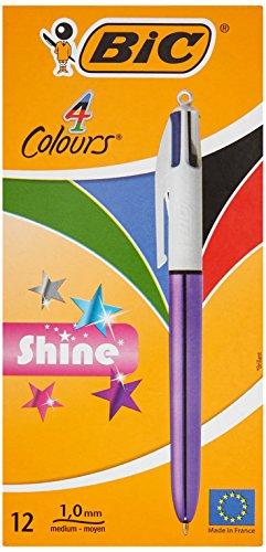 BIC 9513514colores shine-Bolígrafo metálico cuerpo, color morado (Pack de 12)
