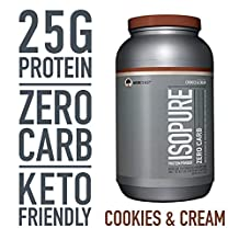 Isopure Zero Carb Protein Powder, 100% Whey Protein Isolate, Gluten Free/Lactose Free,Keto Friendly, Flavor: Cookies & Cream, 3 Pounds