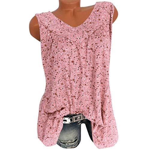 POPLY Frauen Weste Tank Tops Damen Mode Floral Bluse V-Ausschnitt Beiläufige Lose Blumendruck T-Shirt Lose Ärmellos Freizeit Oberteile (Rosa,3XL)