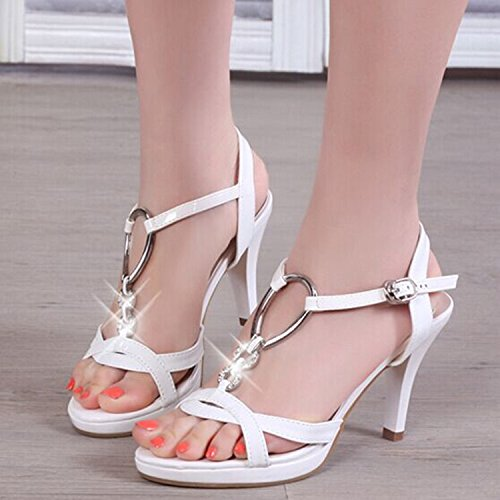 Tacco-Leather Sandals femminile dia tacco Belle High Heel White