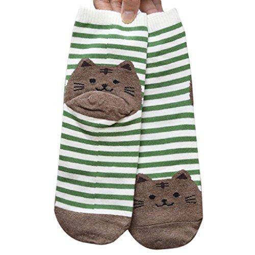 gestreifte Cartoon Socken Frauen Katze Fußabdrücke Baumwollsocken (Grün) (Pink Und Orange Gestreiften Socken)