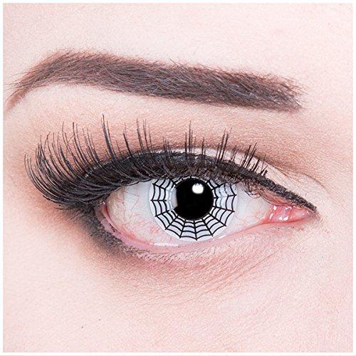 Halloween Spinne Kostüm Kindes (Meralens A0160 Spider Kontaktlinsen mit Pflegemittel ohne Stärke, 1er Pack (1 x 2)