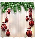 Abakuhaus Weihnachten Duschvorhang, Red Ball Ribbons, Waschbar und Pflegeleicht mit 12 Haken Hochwertiger Druck Farbfest Langhaltig, 175 x 200 cm, Grün-Roten