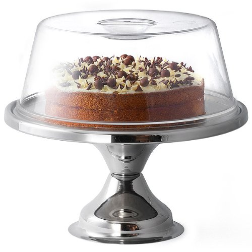 dine@drinkstuff Stainless Steel Cake Stand and Plastic Cake Dome 12 Inch Cake Stand | Cake Display for Cafes and Restaurants, Keep Your Cakes Fresh