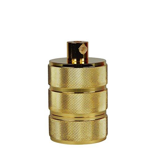 Runde Theke Höhe Tisch (Lampen-Fassung (Farbe: Gold) für Glühbirnen / LED mit E27 Gewinde, 8,00 x 4,7 cm, 135 g, bis 100 W, fünfteilig, incl. Zugentlastung, z.B. für Pendel-Leuchten, CE, Vintage, Retro, Antik, Edison, DIY (Anzahl: 1))