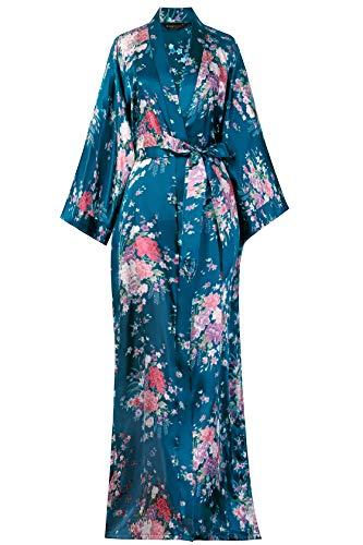 BABEYOND Kimono de Seda Vestido de Satén Kimono Pavo Real Novia Pijamas de Seda Bata de Satén 135...