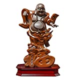 Estatua De Buda De La Risa Para La Buena Suerte Riqueza Y Felicidad,Cerámica Dorada China Gran Barriga En Pie Felicidad Estatuilla De Maitreya Para La Meditación Zen,Escultura Hecha A Mano Ornamento