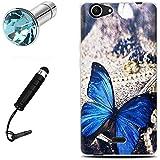 Lusee® Funda de silicona para Wiko Pulp 3G / 4G 5.0 pulgada Suave Cascara TPU mariposa azul
