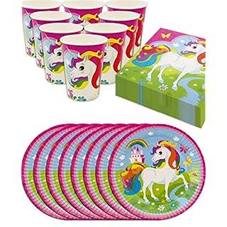 HomeTools.eu - Einhorn Unicorn Party-Geschirr Set Rainbow | Papp-Teller, Papp-Becher, Servietten | 8 Personen | 36-Teilig