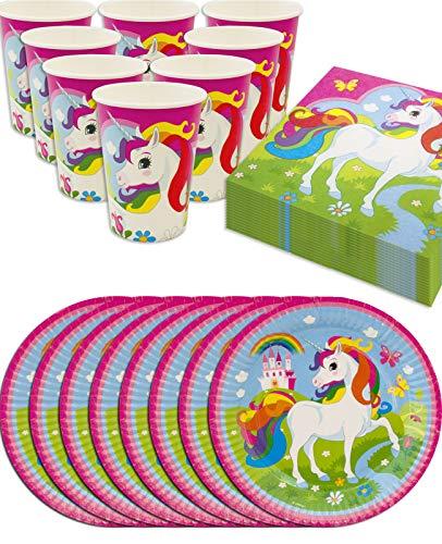 rn Unicorn Party-Geschirr Set Rainbow | Papp-Teller, Papp-Becher, Servietten | 8 Personen | 36-Teilig ()