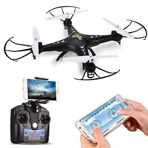 Holy Stone FPV Drohne mit 2MP HD Kamera, WIFI, HS200 RC Helikopter Quadrocopter, App Steuerung, RC Quadrocopter mit Höhenhaltung,Schwerkraftsensor und Headless Modus Funktion RTF, Schwarz