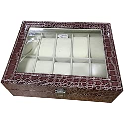Watch Case - TOOGOO(R) Faux Leather Watch Case Storage Display Box Organiser Jewelery Glass Top Size:10 Grid Crocodile Brown
