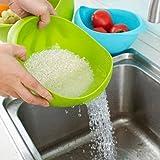 TAOtTAO Kunststoff Gemüse Obst Reis Waschen Sieb Sieb Sieb Korb Küche Werkzeug (Grün)