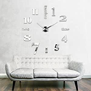 xxl3d grande horloge murale xxl 130cm miroir geante pendules murales xv cuisine maison. Black Bedroom Furniture Sets. Home Design Ideas